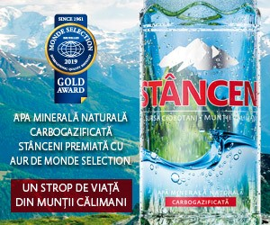 Apa minerala naturala carbogazificata Stanceni premiata cu aur de Monde Selection