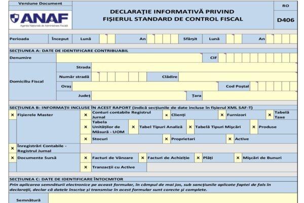 Totul despre Fisierul Standard de Control Fiscal (SAF-T) sau D-406. Cine il depune si cine nu-l depune