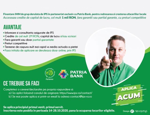 Finantare IMM de grup derulata de IPS in parteneriat exclusiv cu Patria Bank, pentru redresarea si cresterea afacerilor locale