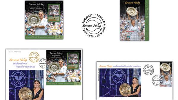 Romfilatelia dedica o emisiune de timbre Simonei Halep, ambasadorul tenisului romanesc