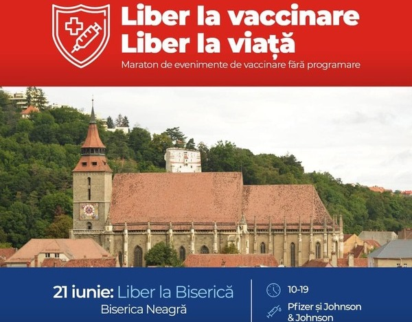 A doua zi de Rusalii vine cu un maraton de vaccinare in Biserica Neagra din Brasov