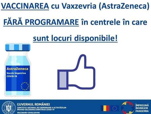 Vaccinare fara programare cu Vaxzevria, vaccinul produs de AstraZeneca
