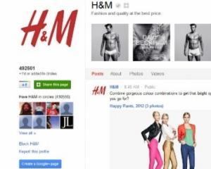 H&M dispune de cea mai vizitata pagina a unui brand pe GOOGLE+
