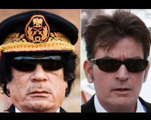 Recunoasteti autorul: Charlie Sheen vs Muammar Gadhafi