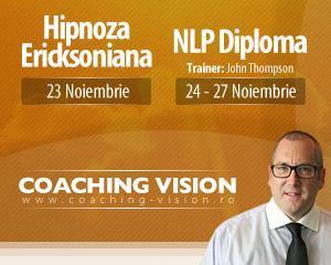 Hipnoza Ericksoniana si NLP Diploma: Evenimente sustinute de John Thompson la Bucuresti, intre 23 si 27 octombrie