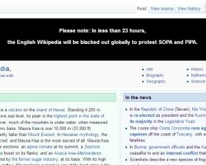 Wikipedia se inchide miercuri, in semn de protest fata de legea anti-piraterie din SUA