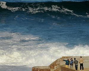 In nordul Californiei, unii fug de tsunami, altii fac surfing