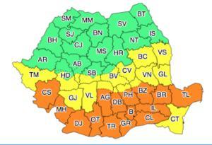 Breaking News: Cod portocaliu in 15 judete si galben in 13. Capitala este si ea vizata de vreme extrema
