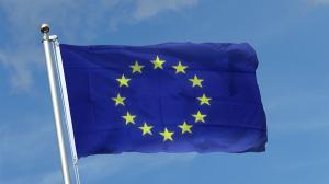 De Revelion, steagurile Romaniei, UE si logo-ul oficial al presedintiei rotative, proiectate pe Palatul Victoria