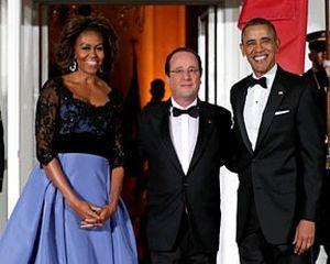 Atmosfera perfecta la dineul oferit de Obama in cinstea lui Hollande