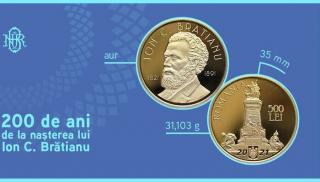 BNR dedica cea mai scumpa moneda din istoria sa bicentenarului nasterii lui Ion C. Bratianu. Stocul de monede alocat rezervarilor online a fost rezervat in intregime