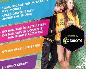 Cosmote si MTV lanseaza o cartela prepaid de 5 euro, cu minute nationale cat pentru un abonament de 12 sau 15 euro