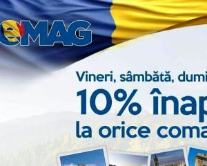 Discount de Ziua Nationala: eMAG da inapoi 10% din valoarea oricarei comenzi
