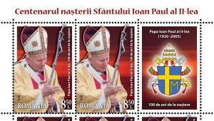 Romfilatelia marcheaza centenarul nasterii Sfantului Ioan Paul al II-lea cu o emisiune de marci postale