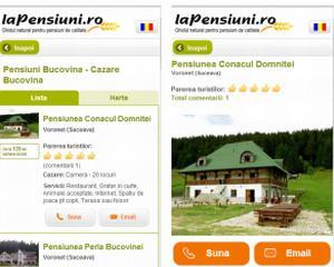 """Aplicatia """"LaPensiuni.ro"""", de acum, si pe Android"""
