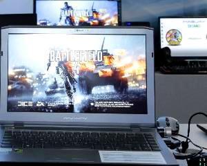 Ce a adus Maguay la DreamHack: Un laptop cu doua placi video nVIDIA GeForce GTX 880M. Fiecare placa are o memorie de 8GB