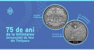Emisiune numismatica BNR avand ca tema 75 de ani de la infiintarea Universitatii de Vest din Timisoara