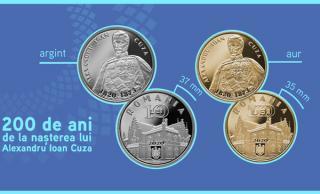 BNR a lansat o moneda de aur care costa 10.400 de lei si una de argint, cu tema 200 de ani de la nasterea lui Alexandru Ioan Cuza