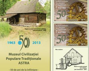50 de ani de existenta a Muzeului ASTRA, aniversati pe timbrele Romfilatelia