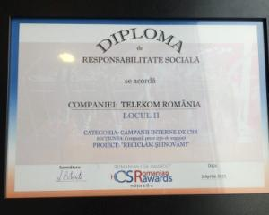 Telekom Romania, recompensat cu doua premii la gala Romanian CSR Awards