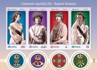 Romfilatelia dedica o emisiune de timbre uniformelor regalitatii, tinutelor purtate de reginele Romaniei