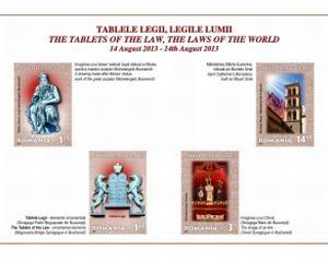 Timbre cu Moise si Tabletele Legii, puse in circulatie de Romfilatelia